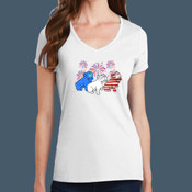Ladies V Neck Bulldog 4th Tee